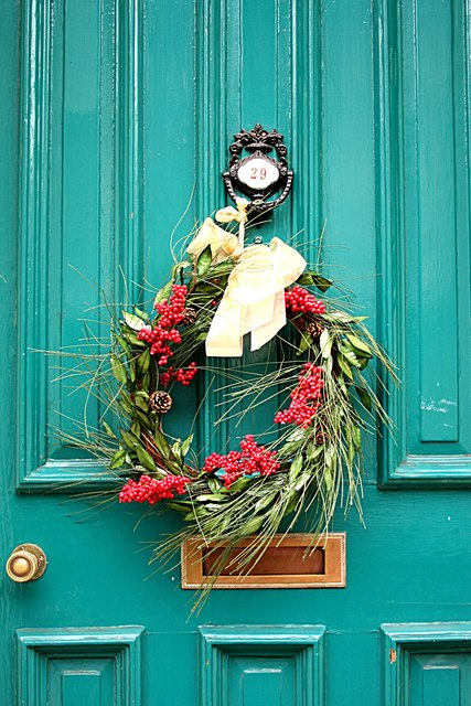 Christmas wreath on a door in Lincoln. Festive season