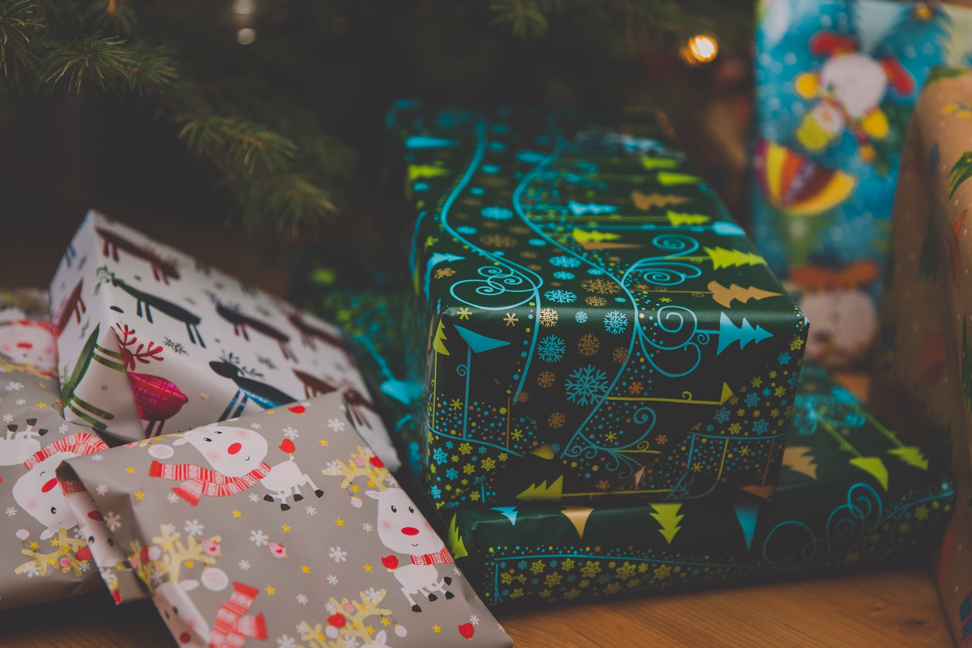 Christmas presents under the tree during the festive season