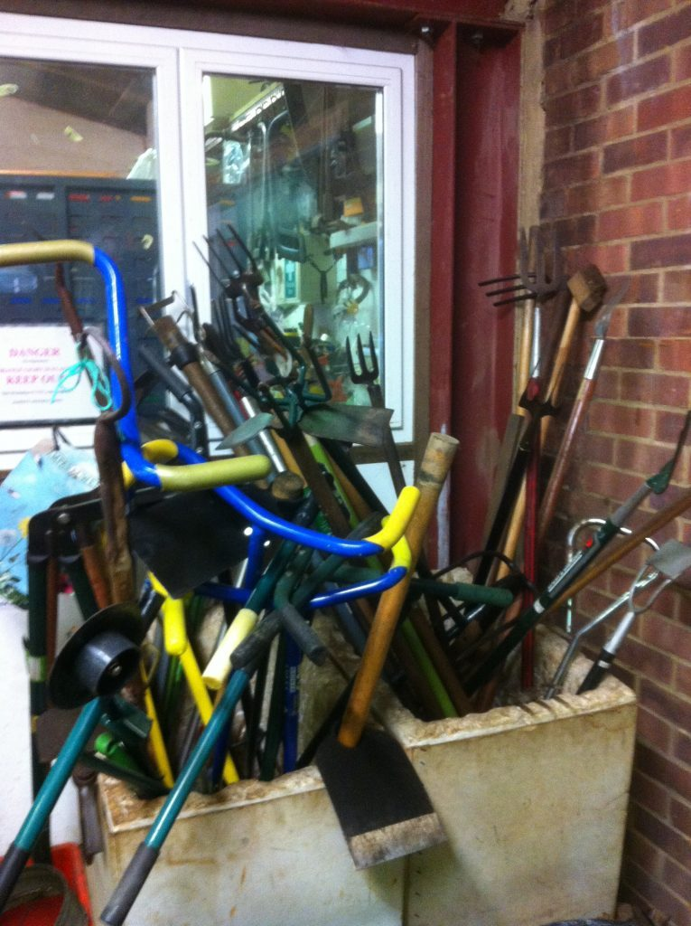 Decluttered garden tools donated to Workaid