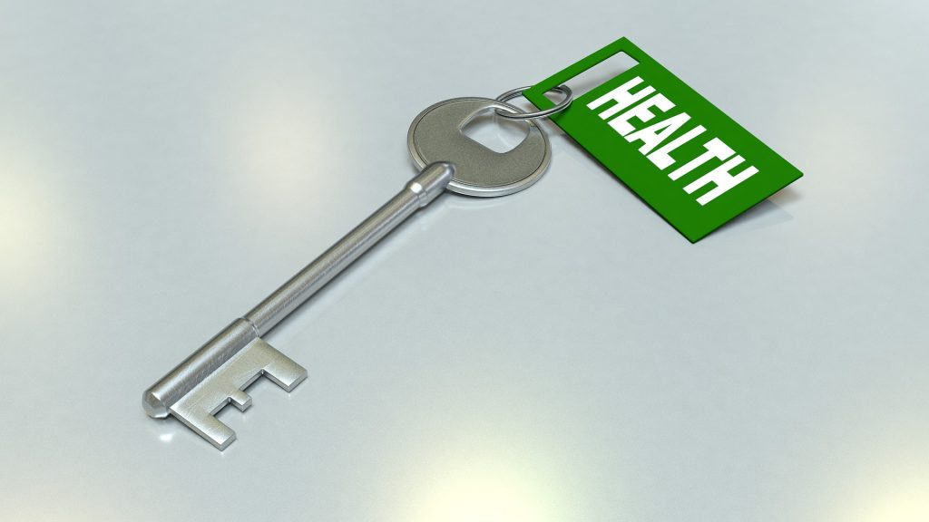 Key labelled 'health'. Organise your home