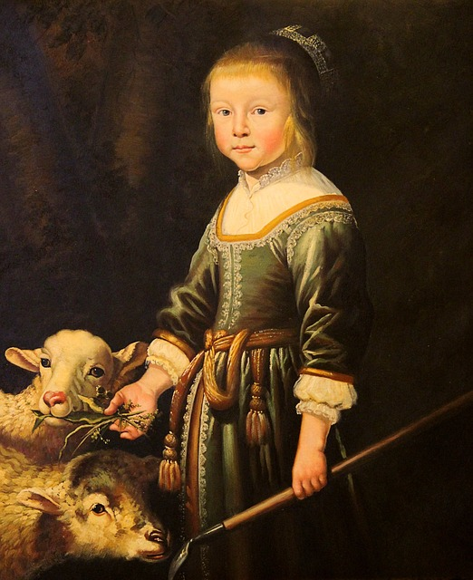 Girl holding a crook, with two lambs. Help with cataloguin