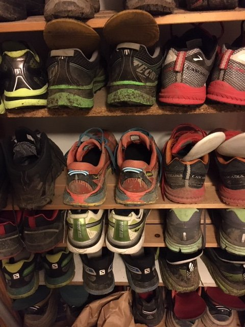 Dedicated shelves for running shoes. Sports and fitness kit
